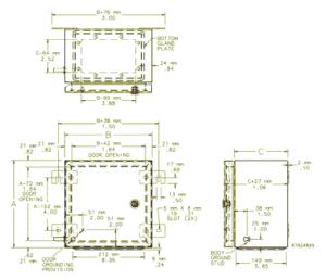 explosion proof enclosure dimensions measurement diagram
