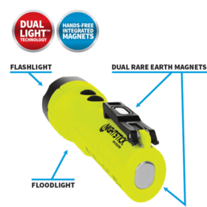 Intrinsically Safe Rechargeable Dual-Light Flashlight wDual Magnets Callouts