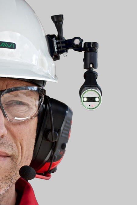 Intrinsically Safe Camera Orbit X Bartec attached to helmet