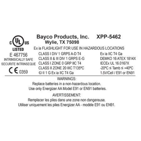 Intrinsically Safe Flashlight NightStick XPP-5462RX nylon polymer