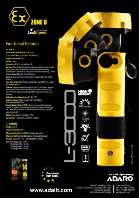 Intrinsically Safe Handlamps ATEX Adaro Adalit L-3000 12V set professional torch