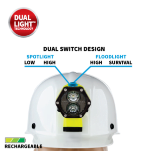 The Dual-Light mode allows the user to turn on both the spotlight and the floodlight simultaneously for maximum lighting versatility and user safety